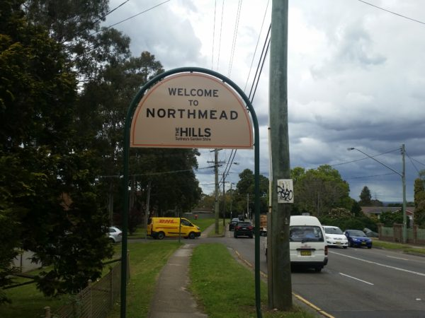 Northmead location sign on Windsor Road