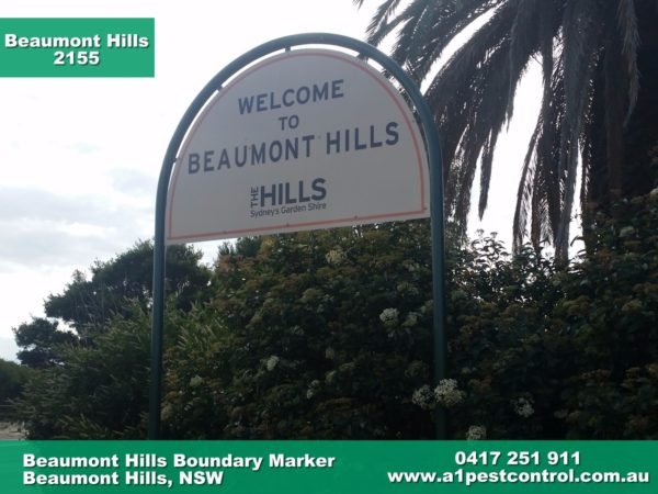 Picture of the Beaumont Hills Boundary Marker. A1 Pest Control has serviced the area for over 30 years and continues to service regular customers from the area.