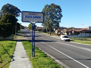 Acacia Gardens Road Sign